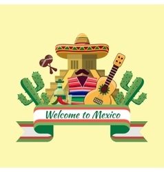 Welcome to mexico poster vector image vector image