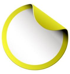 Yellow round sticker on white vector image