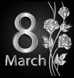8 march lettering greeting card vector image