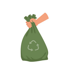 hand holding green plastic trash bag garbage vector image