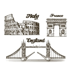 Travel Hand drawn sketch Italy France England vector image