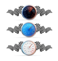 Racing Flag Avto Set with Speedometr vector image
