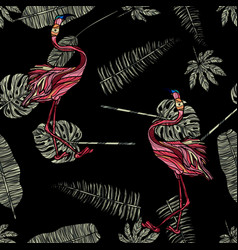 tropical leaves and flamingo seamless pattern vector image