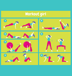Workout for women set of gym icons in flat style vector
