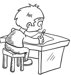 black and white boy doing homework vector image