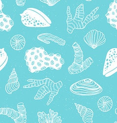 Blue seamless pattern with sea treasures - corals vector