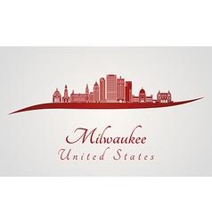 Milwaukee skyline in red vector image