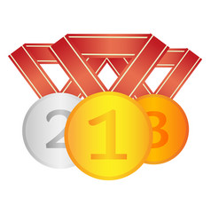 set of winner medals first second third place vector image