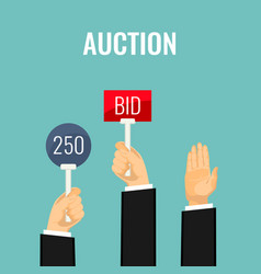 auction with hands holding paddles number and bid vector image
