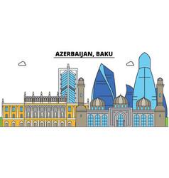 Azerbaijan baku city skyline architecture vector