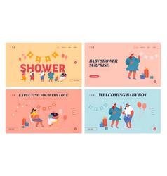 Baby shower celebration website landing page set vector