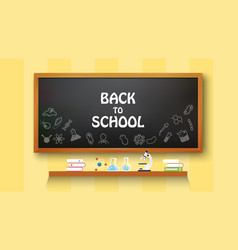 back to school text drawing on with school items vector image