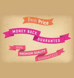 best price on sale money back per premium product vector image