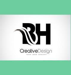 Bh b h creative brush black letters design vector