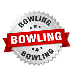 Bowling round isolated silver badge vector