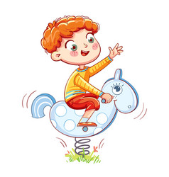 boy riding on the spring rocking-horse vector image