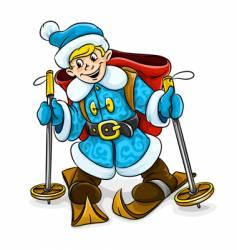 boy ski-ing vector image