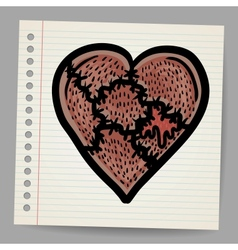 Broken heart cartoon vector image