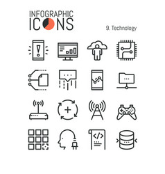 bundle of modern thin line technology icons vector image