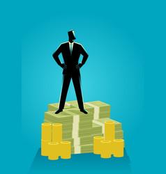 Businessman standing on money vector