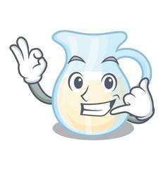 Call me glass jug fresh milk on cartoon vector