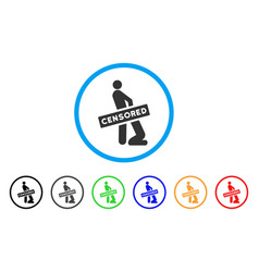 Censored gay oral sex rounded icon vector