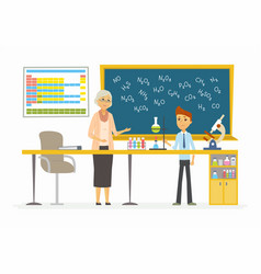 Chemistry lesson - modern cartoon people vector