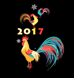christmas card with roosters vector image