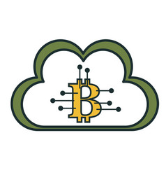 cloud computing with bitcoin symbol vector image