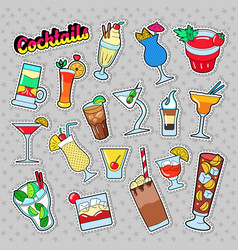 Cocktails and drinks set for stickers vector