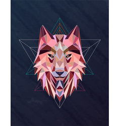 colorful abstract polygonal wolf head vector image