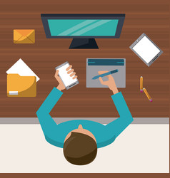 Colorful background on top view of man on desk vector