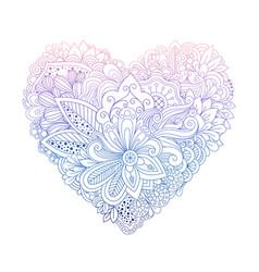 Colorful floral doodle heart shape on white vector
