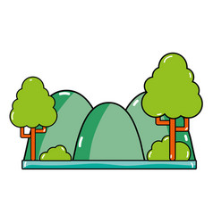 Countains with trees and ecology landscape vector