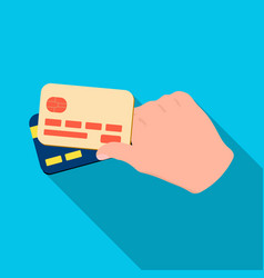 Credit cards in hand e-commerce single icon in vector