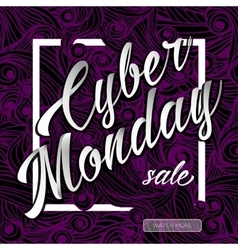 Cyber monday sale lettering background vector image