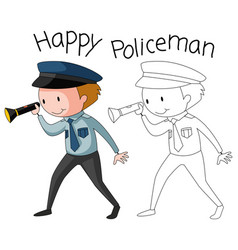 doodle policeman character on white background vector image