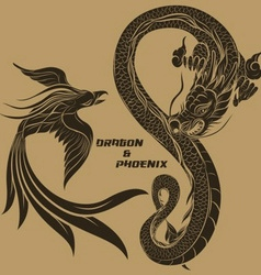 Dragon and phoenix drawing vector