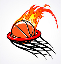 Flaming basketball through hoop logo vector