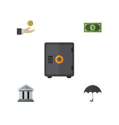 flat icon gain set of greenback hand with coin vector image