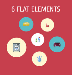 Flat icons sofa aqua foam and other vector