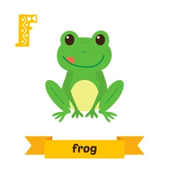 Frog F letter Cute children animal alphabet in vector