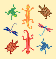 Frogs lizards turtles and dragonflies based on vector