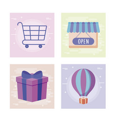 gift box present with commercial icons vector image