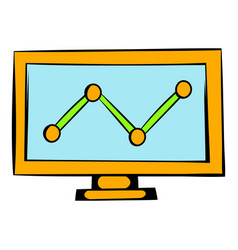 Graph on the computer monitor icon icon cartoon vector