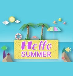 Hello summer fancy origami symbols vector