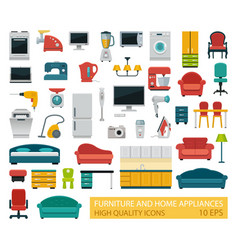 high quality icons of home appliances and vector image