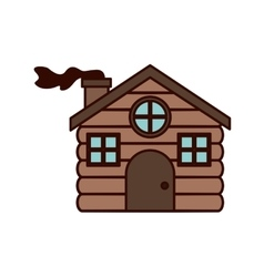 House made of wood with chimney vector