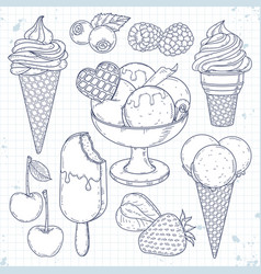 ice cream set hand drawn ice cream vector image
