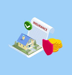 Isometric house insurance policy concept house vector